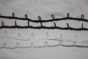 1 Yard Black Brown Off White Bridal Button Loop Elastic Satin Braid Trim 1/2