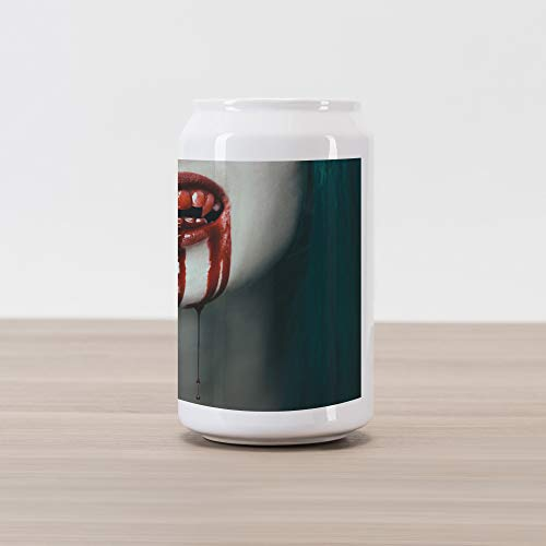 Lunarable Vampire Cola Can Shape Piggy Bank, Realistic Scary Vampire Woman Blood on Her Teeth Close Up Horrifying Image, Ceramic Cola Shaped Coin Box Money Bank for Cash Saving, Red Teal Eggshell]()