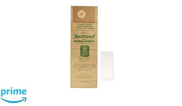 Pack of 10 Premium Replacement Commercial Vacuum Paper Bag for Advance Spectrum SSS Prosense Vacuum Cleaners OEM#1471058500 Janitized JAN-ADVSPEC-2 Clarke CarpetMaster 10