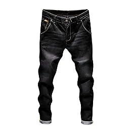 Men's Casual Autumn Denim Vintage Wash Hip Hop Work Jeans Pants