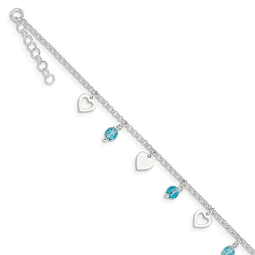 925 Sterling Silver 9 Heart Blue Glass 1 Inch Adjustable Chain Plus Size Extender Anklet Ankle Beach Bracelet Fine Jewelry For Women Gifts For Her