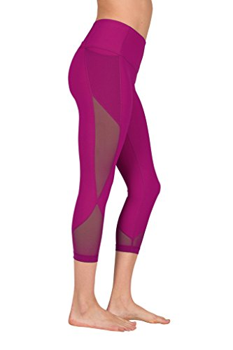 90 Degree By Reflex Women's High Waist Athletic Leggings With Smartphone Pocket - Magenta Haze - (Magenta Apparel)