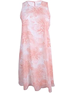 Womens Floral Print Shift Casual Dress Pink 12