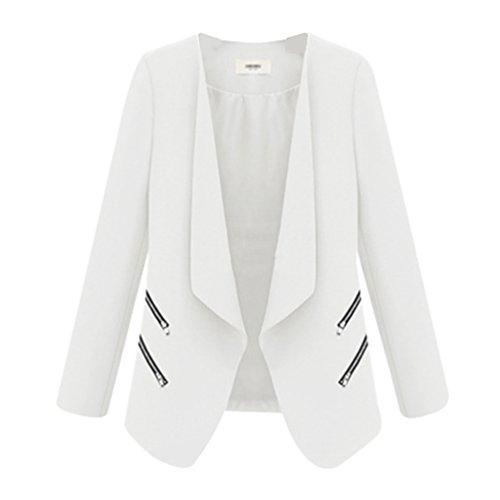 Jacket Zipper White Outwear Coat Il Long Casual Zkoo Women gioco Sleeve z5v1vIq