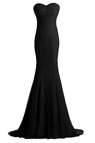 ivyd ressing Mujer Pico de corazón Recorte Mermaid Prom vestido fijo para vestido de noche negro