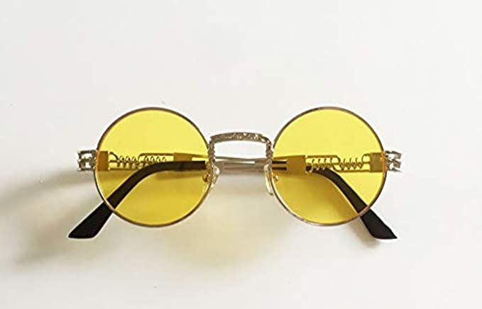 Donne Da Di Alta Rotondo Economici Piccolo Round Argento Gli Uv Occhiali Metallo Oro Sole Chiaro Vintage Specchio Qualità Nuovo Uomini Giallo