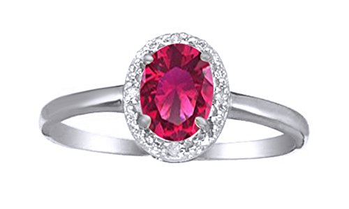 Jewel Zone US Simulated Ruby & White Natural Diamond Halo Engagement Ring in 10k Solid Gold (0.75 Cttw) (2 Carrot Diamond Engagement Ring)