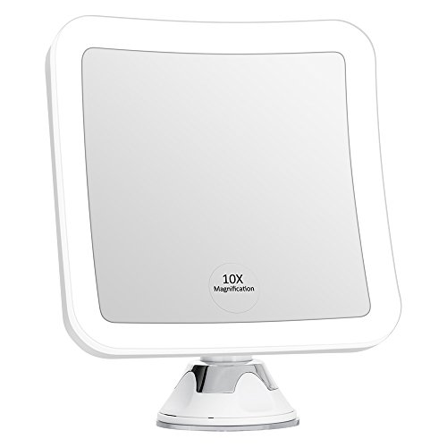 KEDSUM 10X Magnifying LED Lighted Makeup Mirror, 6.3 Wide Travel Mirror with Lights and Strong Suction Cup, 360 Rotation, Compact, Cordless, Battery Operated, Portable Illuminated Bathroom Mirror
