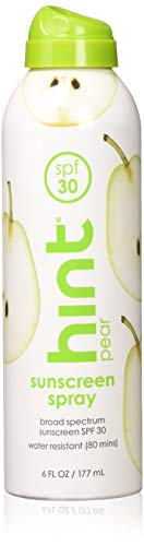 Hint Sunscreen SPF 30 Oxybenzone Paraben Free, Pear, 6 Count
