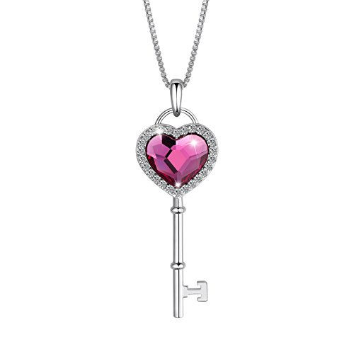 SIVERY Key to Heart Love Heart Women Pendant Necklace Jewelry, Made with Rose Swarovski Crystal, Jewelry for Women Gifts for ()