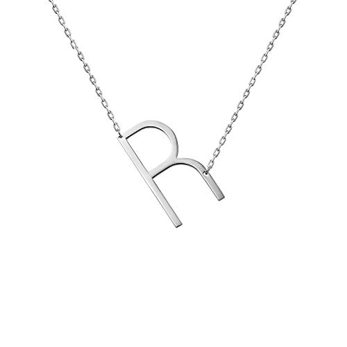 - WIGERLON Stainless Steel Initial Letters Necklace for Women and Girls Color Gold and Silver from A-Z Letter R Color Sliver