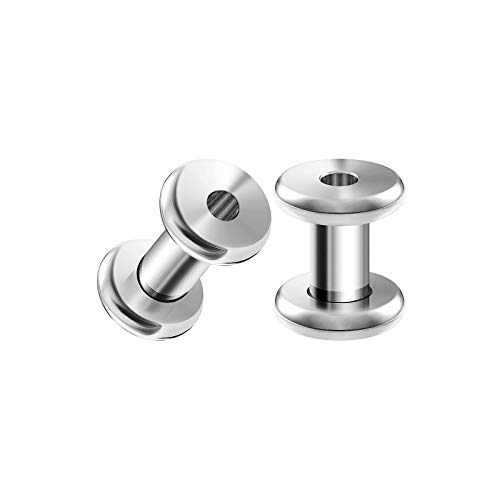 BIG GAUGES Pair of Surgical Steel 6gauges 4 mm Screw Flesh Rounded Edges Tunnels Piercing Jewelry Ear Earring Stretcher Plugs BG3865 -