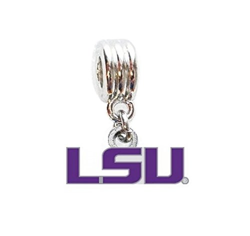 Louisiana State University Tigers Charm Slider Pendant for Your Necklace European Charm Bracelet (Fits Most Name Brands) DIY Projects ETC ()