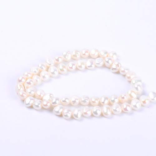 White Round Irregular Natural Freshwater Pearl Loose Beads For Jewelry Making (6-7MM White)