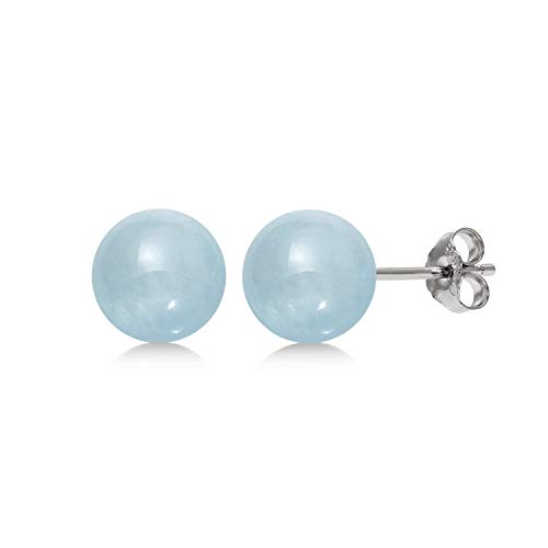 Sterling Silver 6mm Natural Milky Aquamarine Gemstone Round Blue Stud Earrings ()
