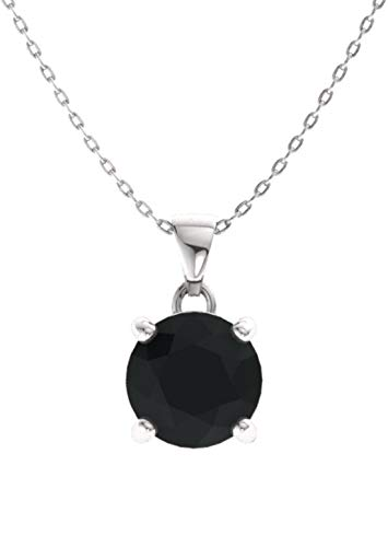 (Diamondere Natural and Certified Black Onyx Solitaire Petite Necklace in 14k White Gold | 0.49 Carat Pendant with Chain)