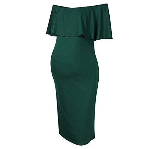 Women's Off Shoulder Ruffle Plain Maternity Dress Bodycon Midi Dress for Daily Wear Baby Shower Army Green