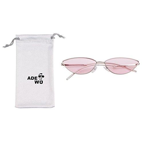 Gafas hombre de plateado marco metal sol as para rosado peque lente 2018 con de Adewu marco 05qRCv