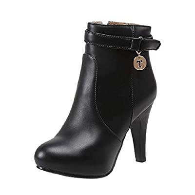 Women's Platform High Heel Ankle Booties Stiletto Heel Side Zipper Buckle Strap Pointed Toe Short Boots