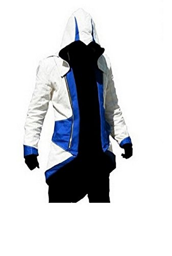 Assassin's Creed 3 Cosplay Costume (Rulercosplay Assassin's Creed 3 Connor Kenway Hoodie Jacket (Small, White& Blue))