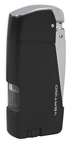 Vertigo Razor Twin Torch Flame Lighter - Black & Chrome