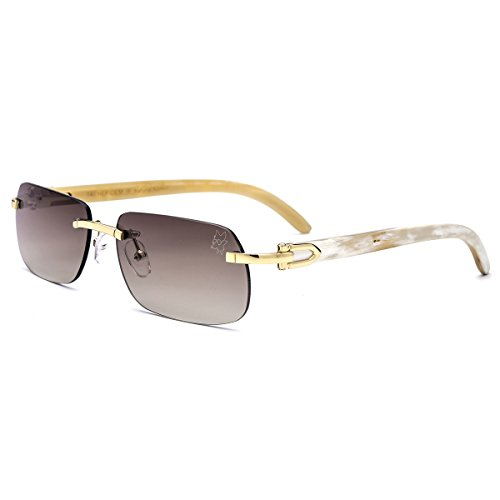 Glasses Cartier (HEPIDEM Buffalo Horn Handmade Sun Glasses Square Rimless Luxury Sunglasses 0816 (Coffee/Gold, 58))