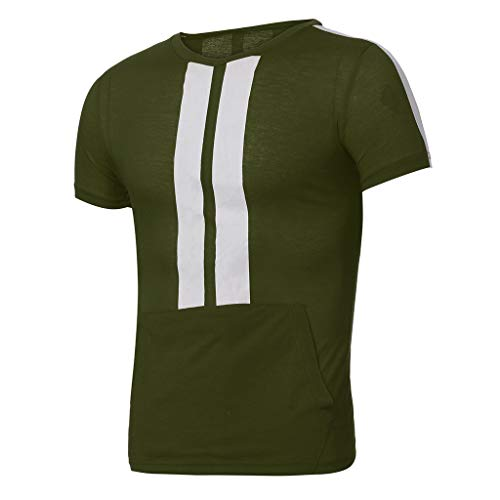 YKARITIANNA Mens Summer Leisure Stripe Color Collision Short Sleeve Shorts Sports Thin Sets ()