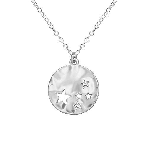 MANZHEN Minimalist Gold Silver Moon and Star Pendant Full Moon Hammered Round Disc Necklace (Textured Disc Necklace)
