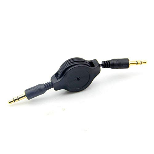 Auxiliary Black Retractable Cable Cord for All MP3 iPod iPhone Samsung Cell Phones Car Stereos 3.5mm