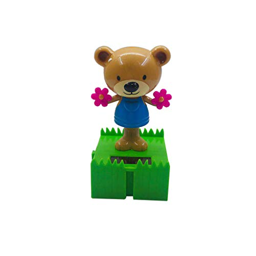 Solar Car Decoration - Flower Bear Shaking Head Animated Decoration Toy - Light Powered Dancing Swinging Toys for Car Windowsill Balcony Courtyard (11x6x6cm, - Bear Dancing Flowers