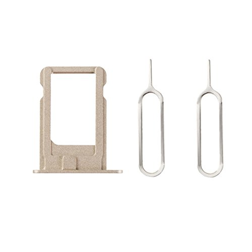 Mobofix Nano Sim Card Slot Bracket Tray Holder Free 2 Eject Pins for iPhone 5S Gold (Iphone 5s Gold Sim Slot)