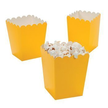 Mini Popcorn Boxes - Yellow - Teacher Resources & Birthday Supplies by Oriental Trading Company