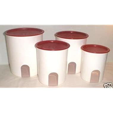 TUPPERWARE ONE TOUCH REMINDER 4-PC. CANISTER SET/POPSICLE WITH NEW DESIGNED SEALS