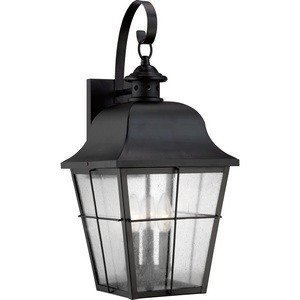 Quoizel MHE8410K Millhouse Seedy Glass Outdoor Wall Lantern Wall Mount Lighting, 3-Light, 180 Watts, Mystic Black (22