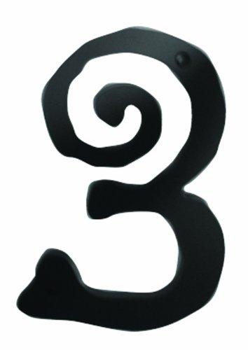Atlas Homewares SCN3L-BL 5.5-Inch Large Scroll House Number-3, Matte Black
