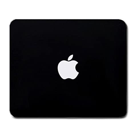 Custom Gaming Mouse Pad with Simple Apple Logo Black Minimal Non-Slip Neoprene Rubber Standard Size 9 Inch(220mm) X 7 Inch(180mm) X 1/8 Inch(3mm) Desktop Mousepad Laptop Mousepads Comfortable Computer Mouse Mat