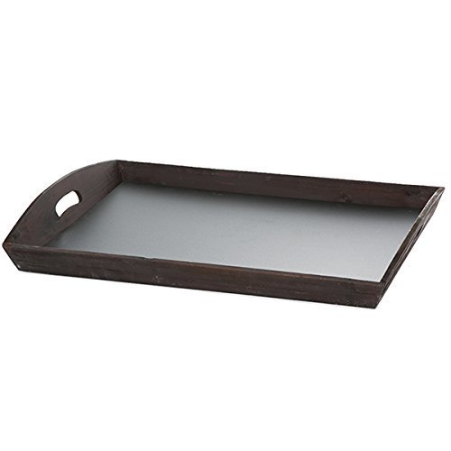 The Lucky Clover Trading Rectangular Tray Basket with Chalkboard Base, Rustic Brown