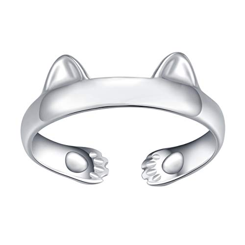 qanyue 925 Sterling Silver Cat Rings Ears Open Tail Rings Paws Mutual Surrounded Adjustable for Girls