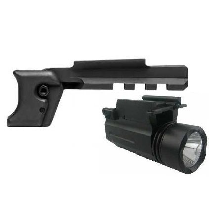 Ncstar MADGLO Glock 9mm .40 S&W Gen 1 and G26 G27 Sub Compact Models Pistol Handgun Trigger Guard Mount Rail Adapter + Ultimate Arms Gear Compact LED Flashlight Light Sight