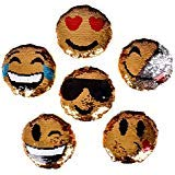 "ACO Sequined Emoticon Round Mini 5.5"" Pillows ~ Set of 6 Emoji Expressions Designs ~ Reversible Mermaid Sequins"