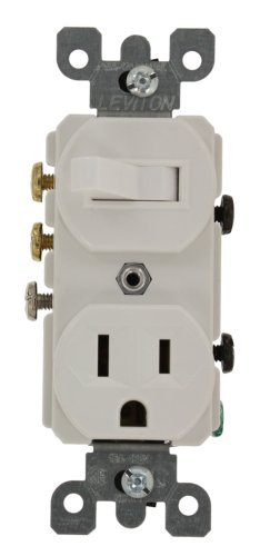 Leviton 5245-W Decora 3-Way Duplex Combination Switch/Receptacle, 1 P, 3 Wire, 15 A, 120 Vac, White