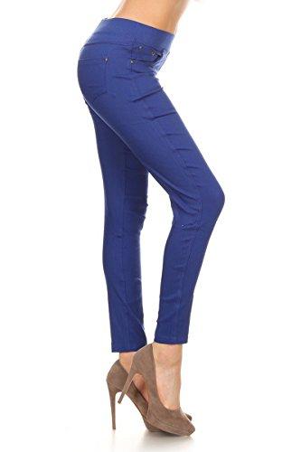 Leggings Depot Women's Essential Ultra Soft Cotton Skinny Jeggings Colored Pants (2X-3X, Royal Blue)