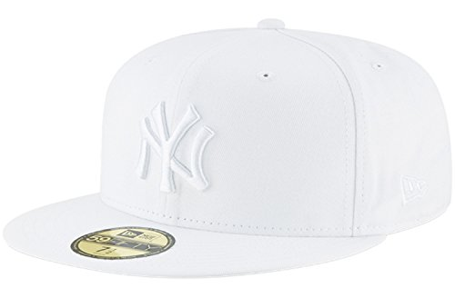 New Era Mens New York Yankees MLB Authentic Collection 59FIFTY Cap, White/White, 7 1/2