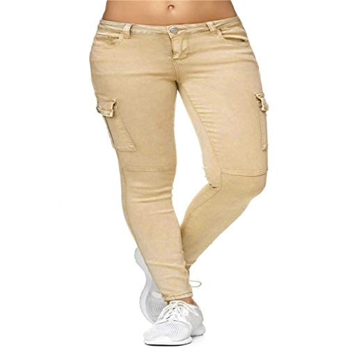 iNoDoZ Women's Skinny Ankle High Waist Solid Jeans Button Side Stand Pockets Trouser Length Pants Khaki