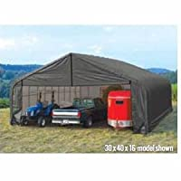 ShelterLogic Peak Style 30ft.W Garage/Storage Shelter - Gray, 24ft.L x 30ft.W x 16ft.H, 2 3/8in. Frame, Model# 86047