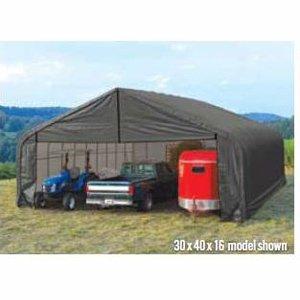 ShelterLogic Peak Style 30ft.W Garage/Storage Shelter - Gray, 20ft.L x 30ft.W x 20ft.H, 2 3/8in. Frame, Model# 86062