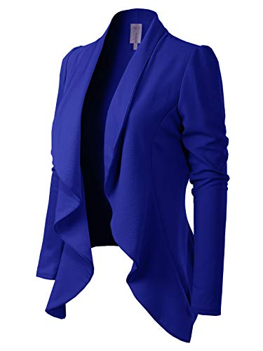 MixMatchy Women's [Made in USA] Solid Formal Style Open Front Long Sleeves Blazer (S-3X) Royal Blue L