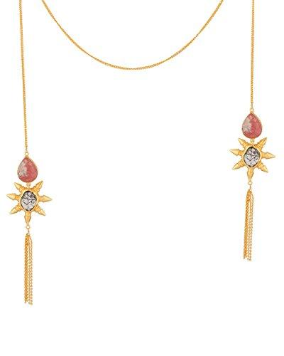 Voylla Women's Floral Design Gold Tone Long Necklace by Voylla