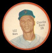 1962 salada tea coins (Baseball) Card# 102 charlie neal of the New York Mets ExMt Condition