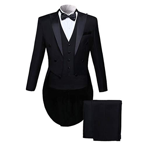 PYJTRL Men Classic 5 Piece Set Tailcoat Tuxedo (Jacket+Pants+Vest+Bow Tie+Cummerbund (Black, L/US 38R) (Tuxedo Set Five Piece)